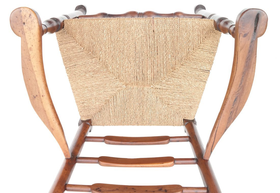Antique American Ladder Back Armchair - 5