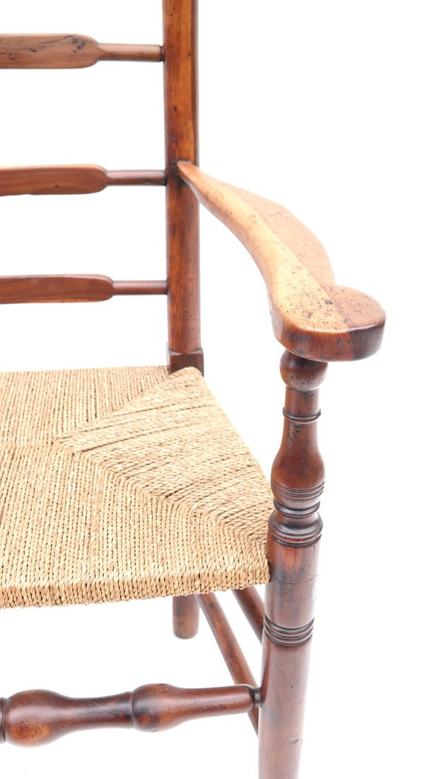 Antique American Ladder Back Armchair - 6