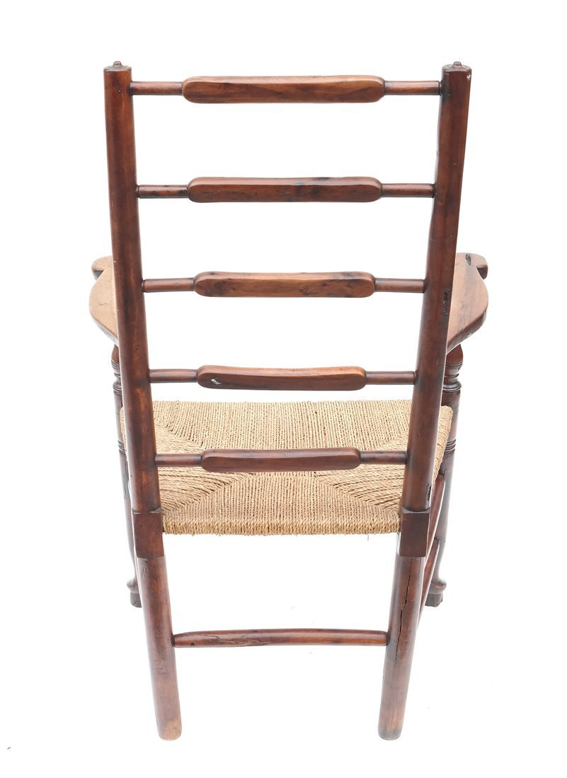 Antique American Ladder Back Armchair - 9