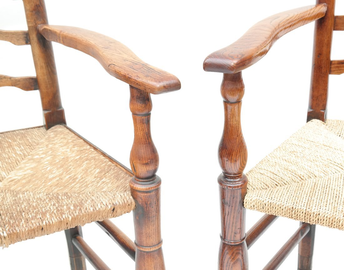 Pair of Oak Ladder Back Chairs - 2