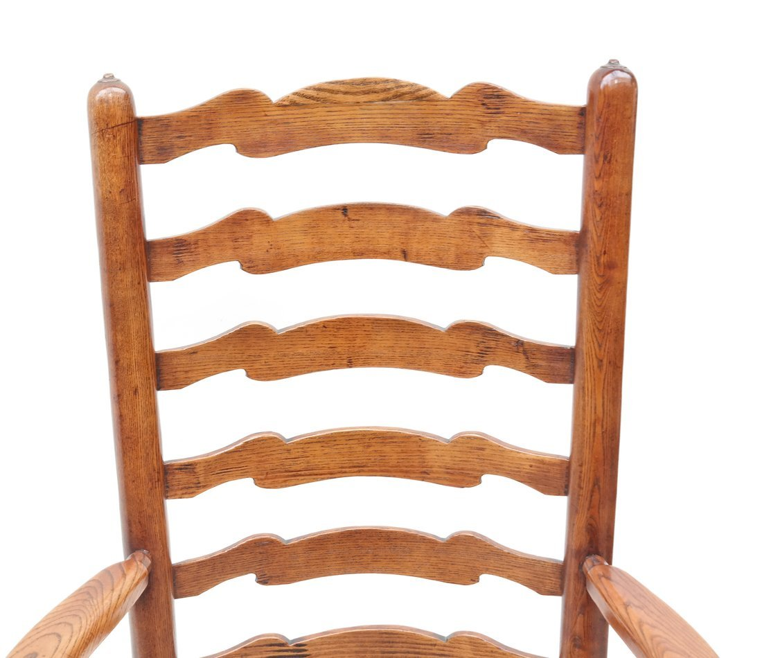 Pair of Oak Ladder Back Chairs - 4