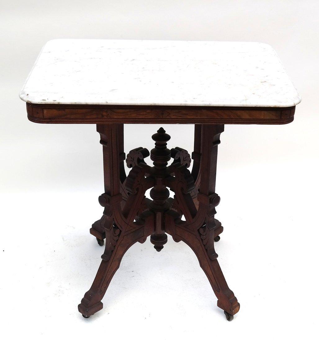 Eastlake Victorian Marble Top Table - 2