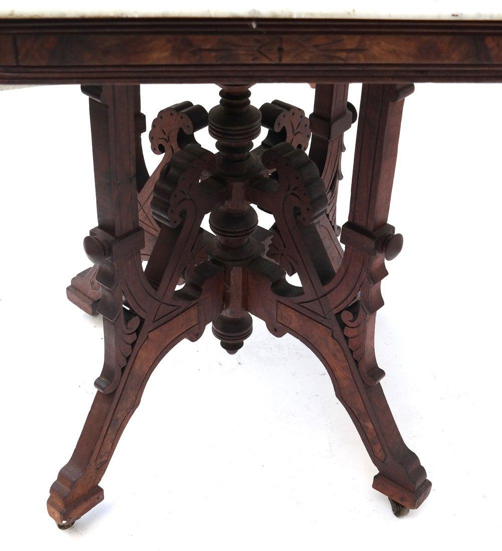 Eastlake Victorian Marble Top Table - 8