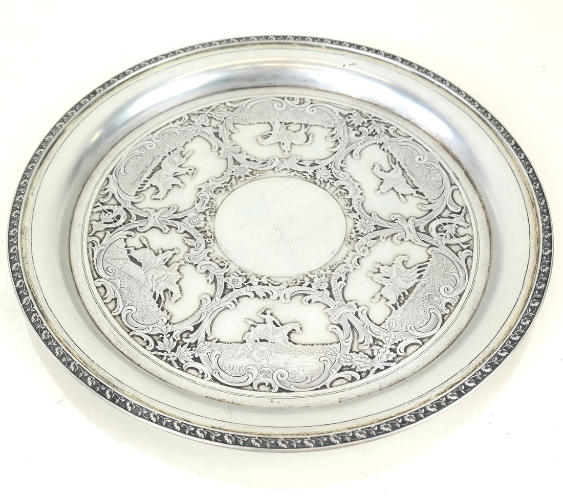 German .800 Silver Circular Small Tray