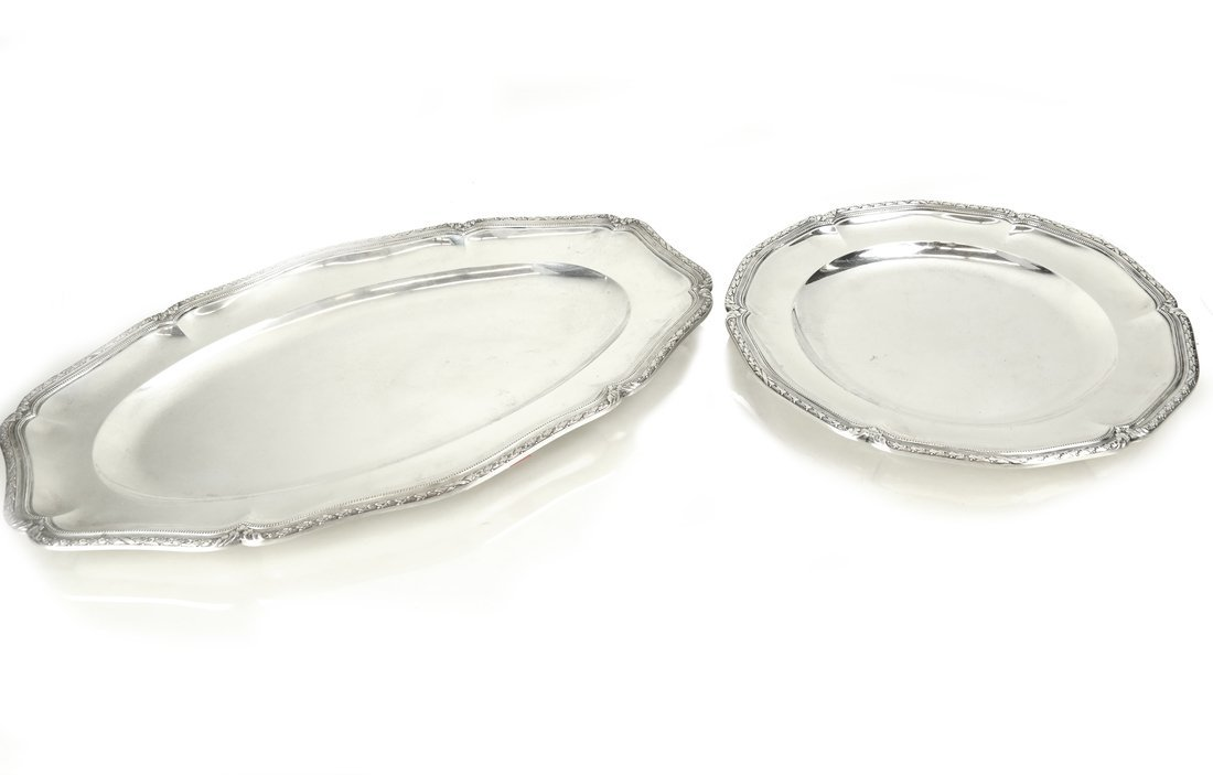 Two French .950 Silver Serving Trays