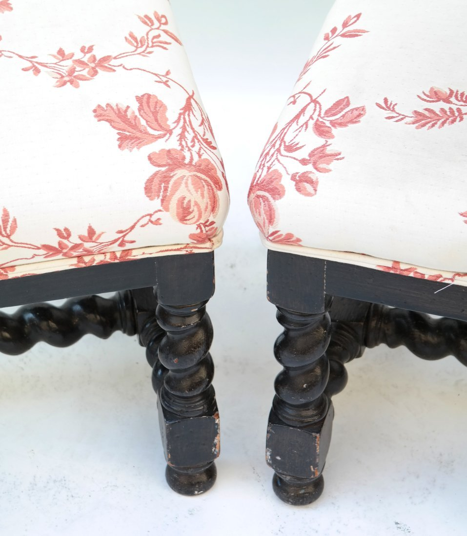 Pair William & Mary Style Square Stools - 2