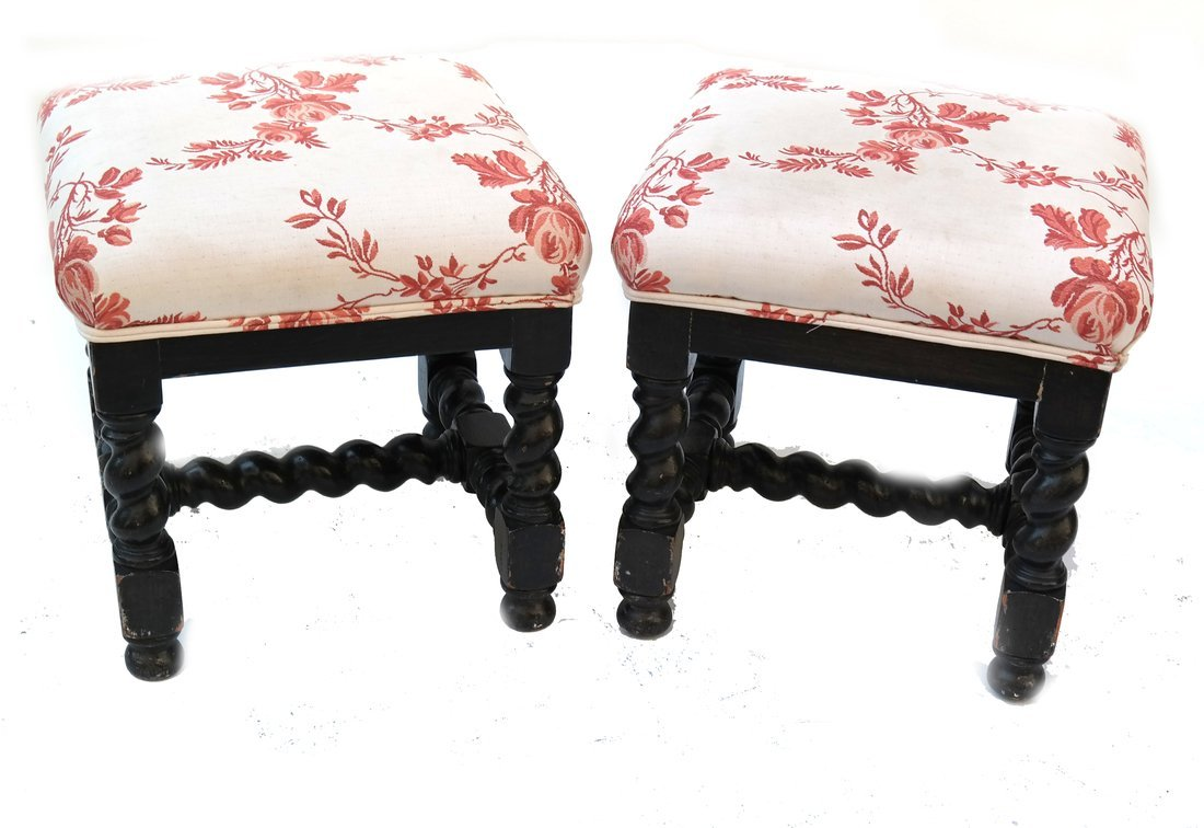 Pair William & Mary Style Square Stools - 5