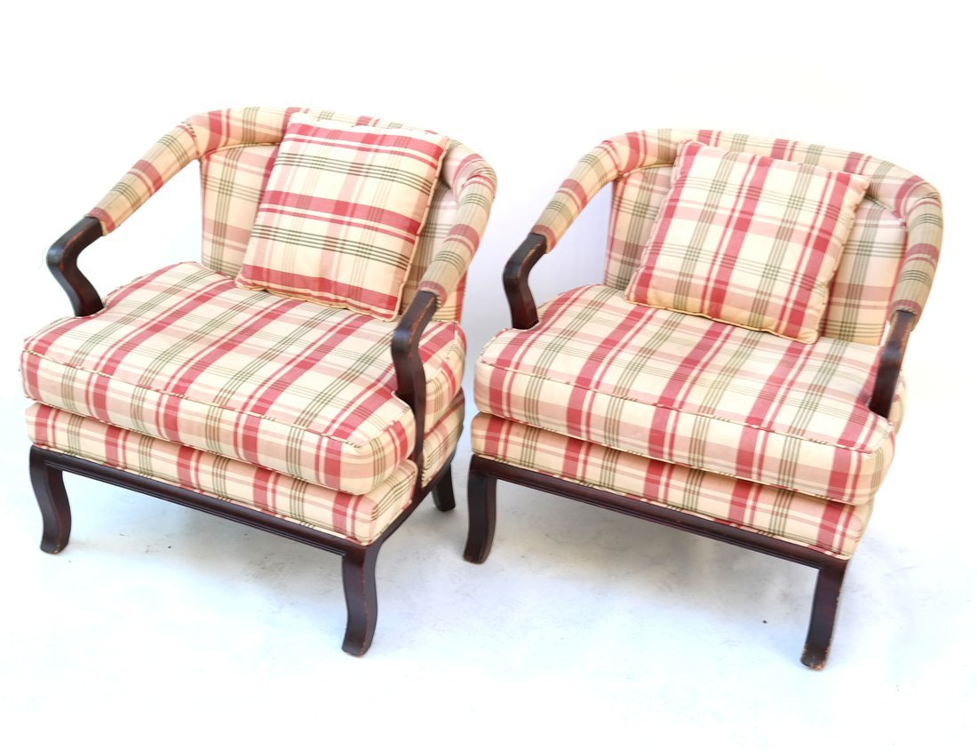 Pair of Upholstered Mahogany Armchairs