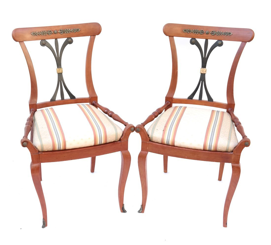 Pair Scandinavian Style Side Chairs