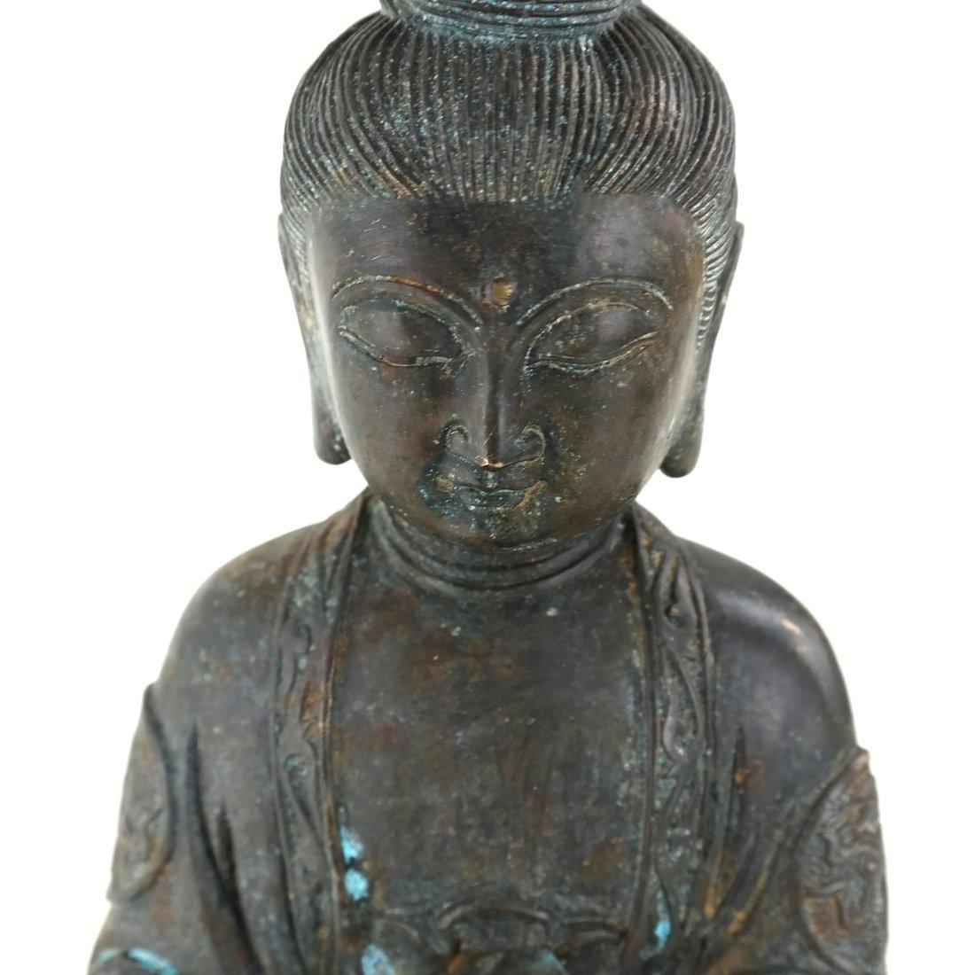 Chinese Bronze Seated Buddha - 4