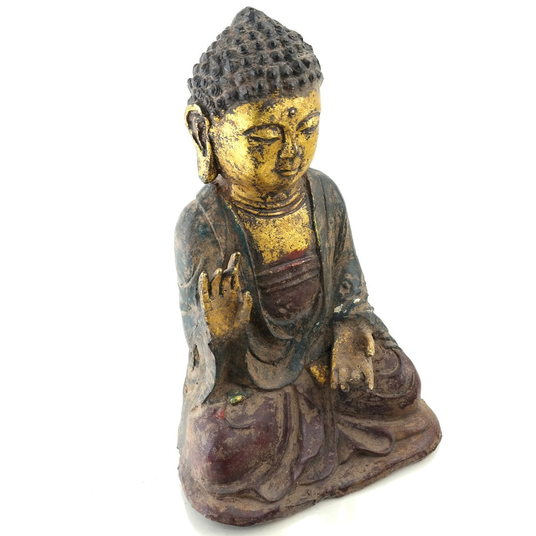 Asian Parcel Gilt Iron Buddha