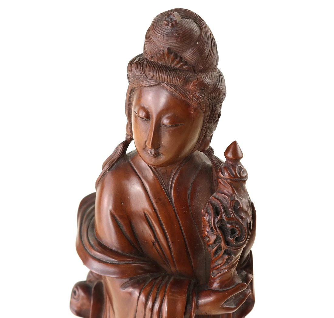 Asian Carved Wood Figure of a Beauty - 2