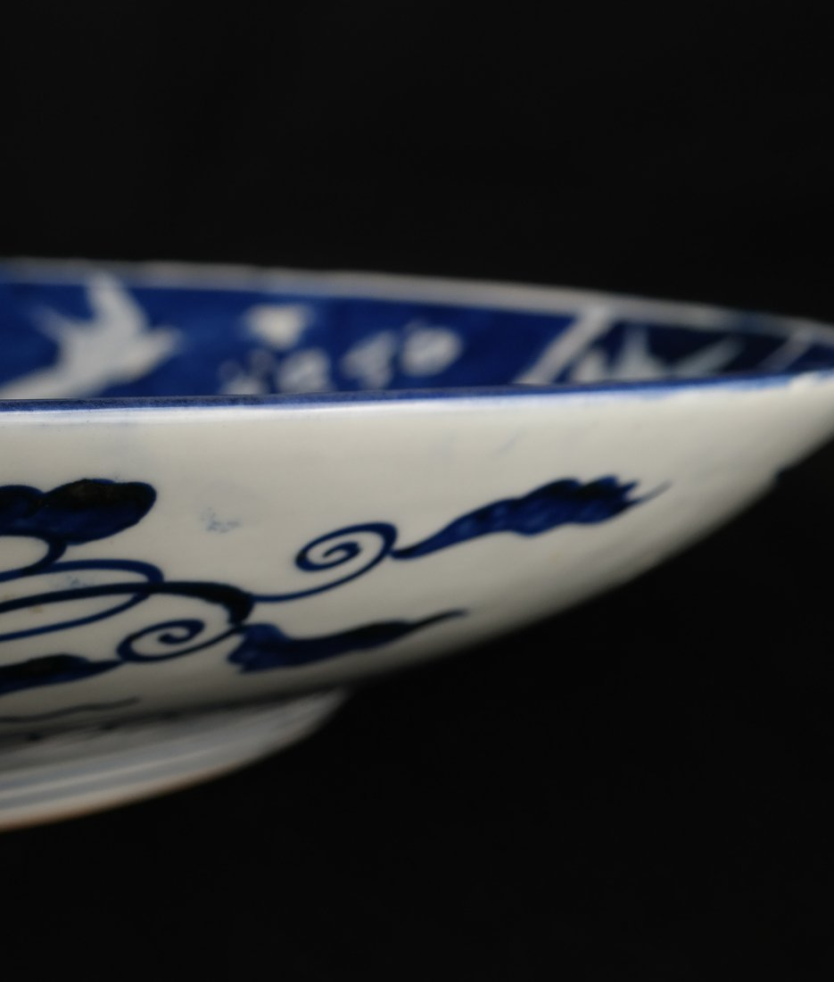 Japanese Blue & White Porcelain Charger - 6