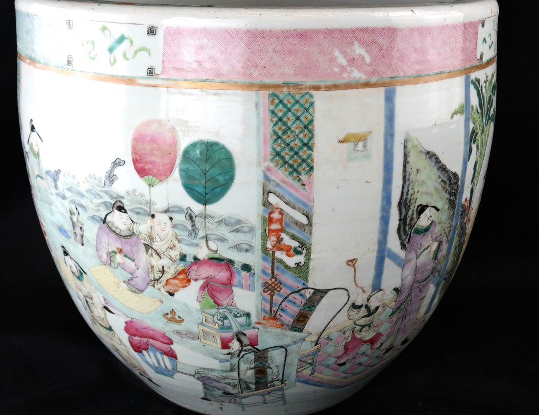 Chinese Famille Rose Porcelain Fish Bowl - 4