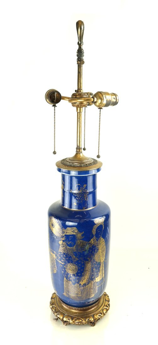 Chinese Export  Blue Porcelain Lamp
