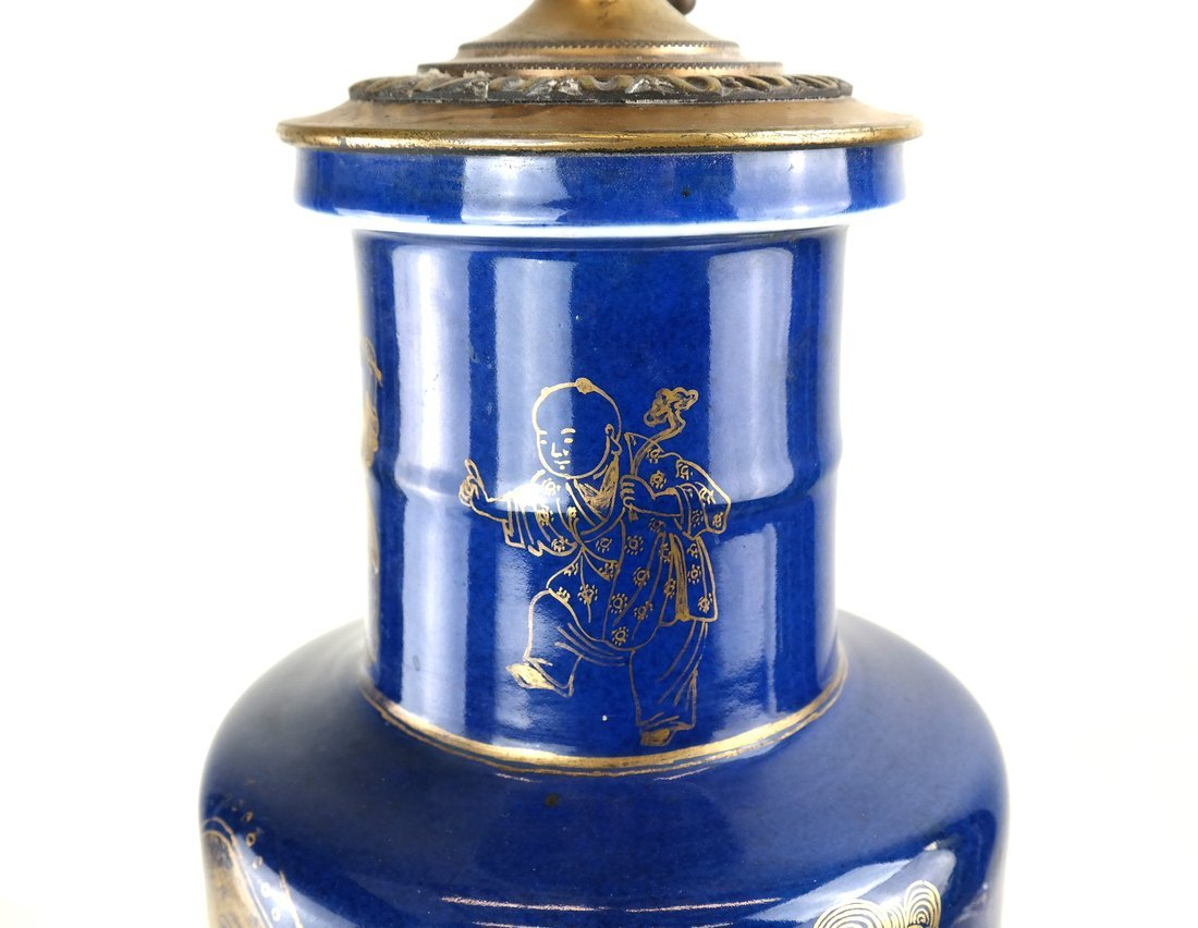 Chinese Export  Blue Porcelain Lamp - 4