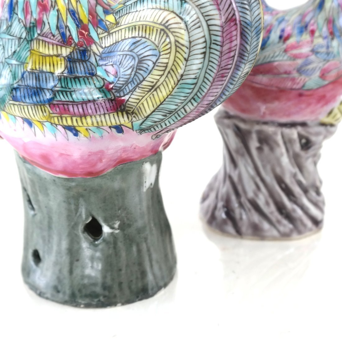Pair Chinese Porcelain Chickens - 4