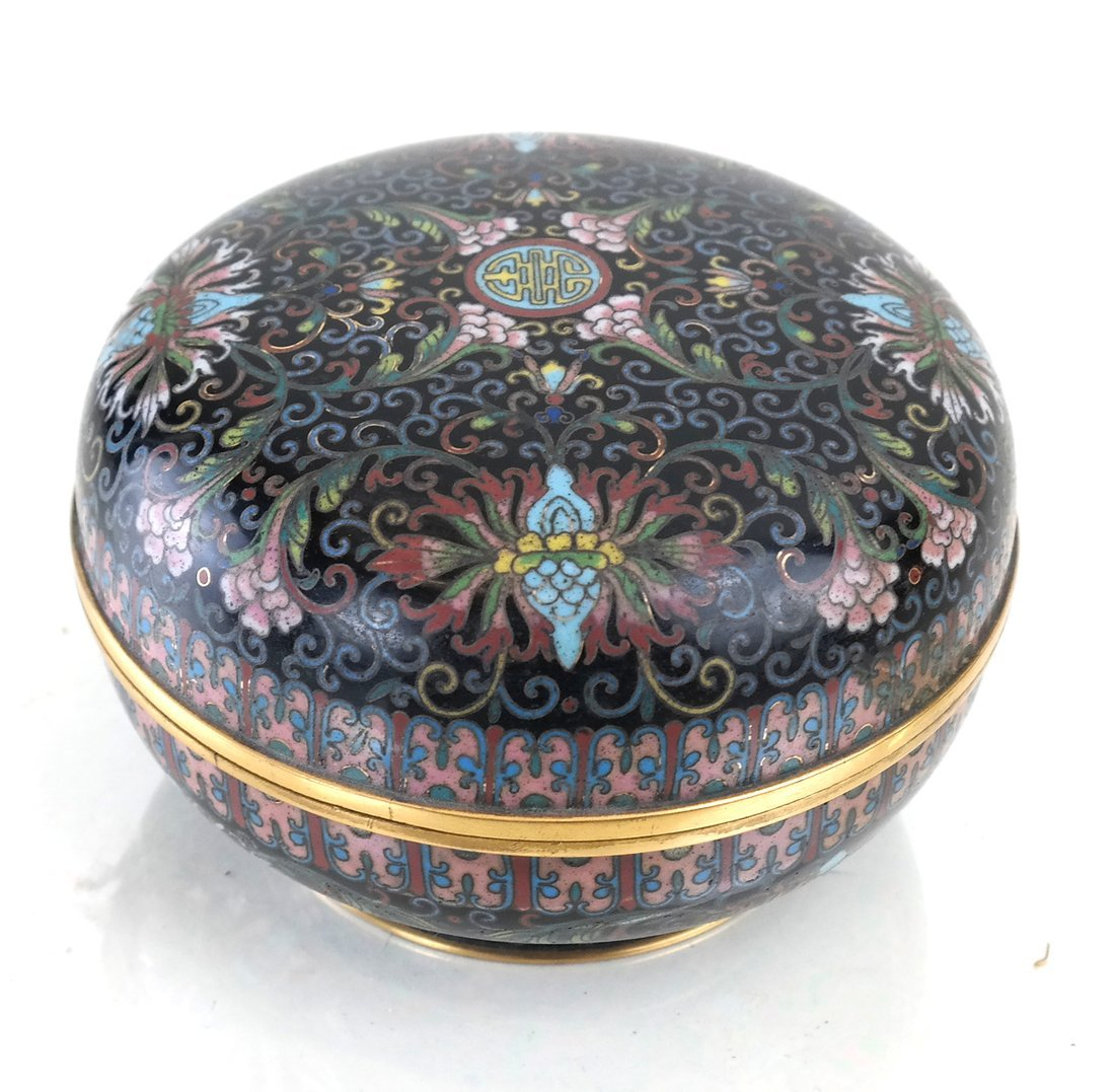 Chinese Cloisonne Circular Covered Box