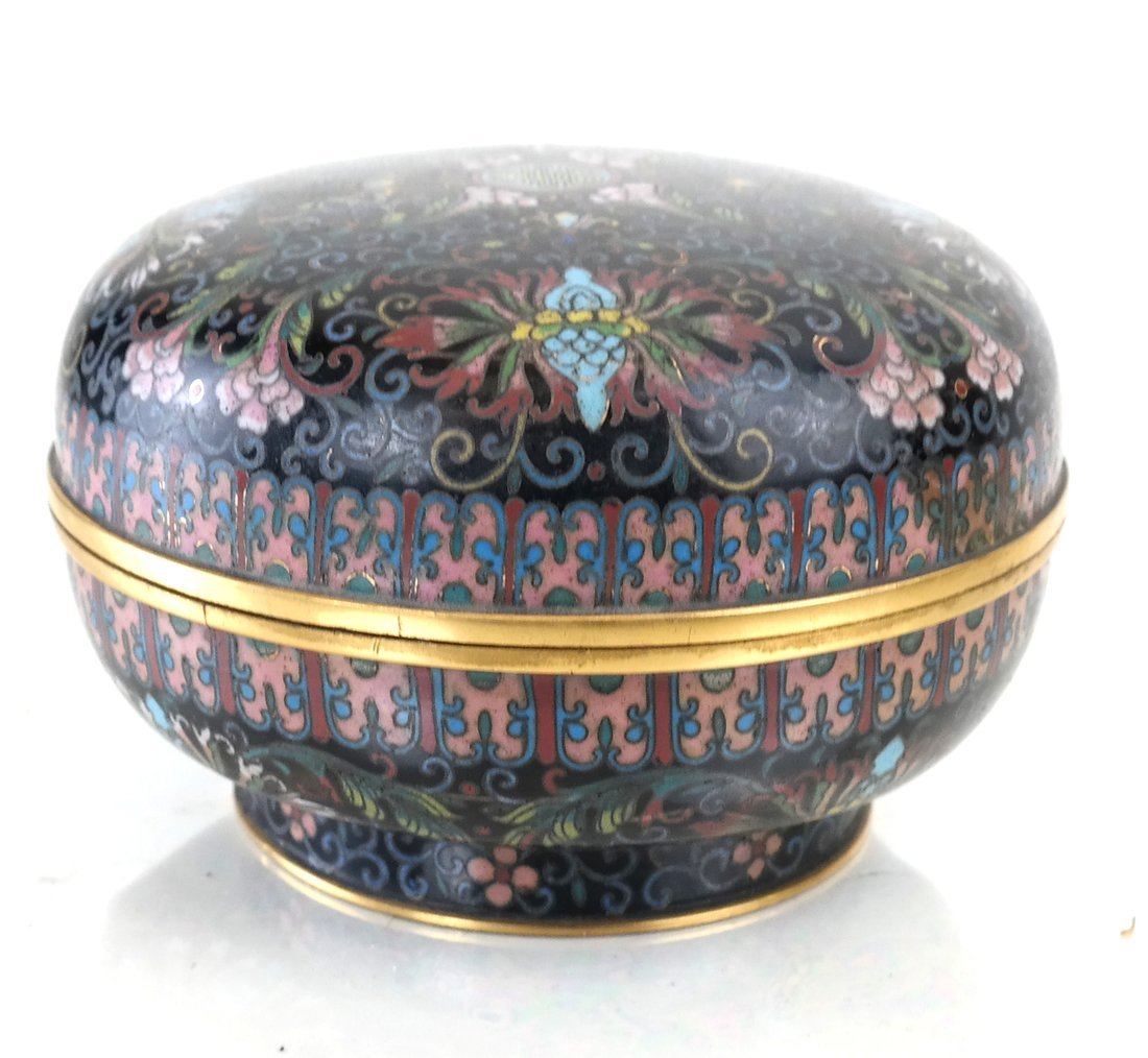 Chinese Cloisonne Circular Covered Box - 2