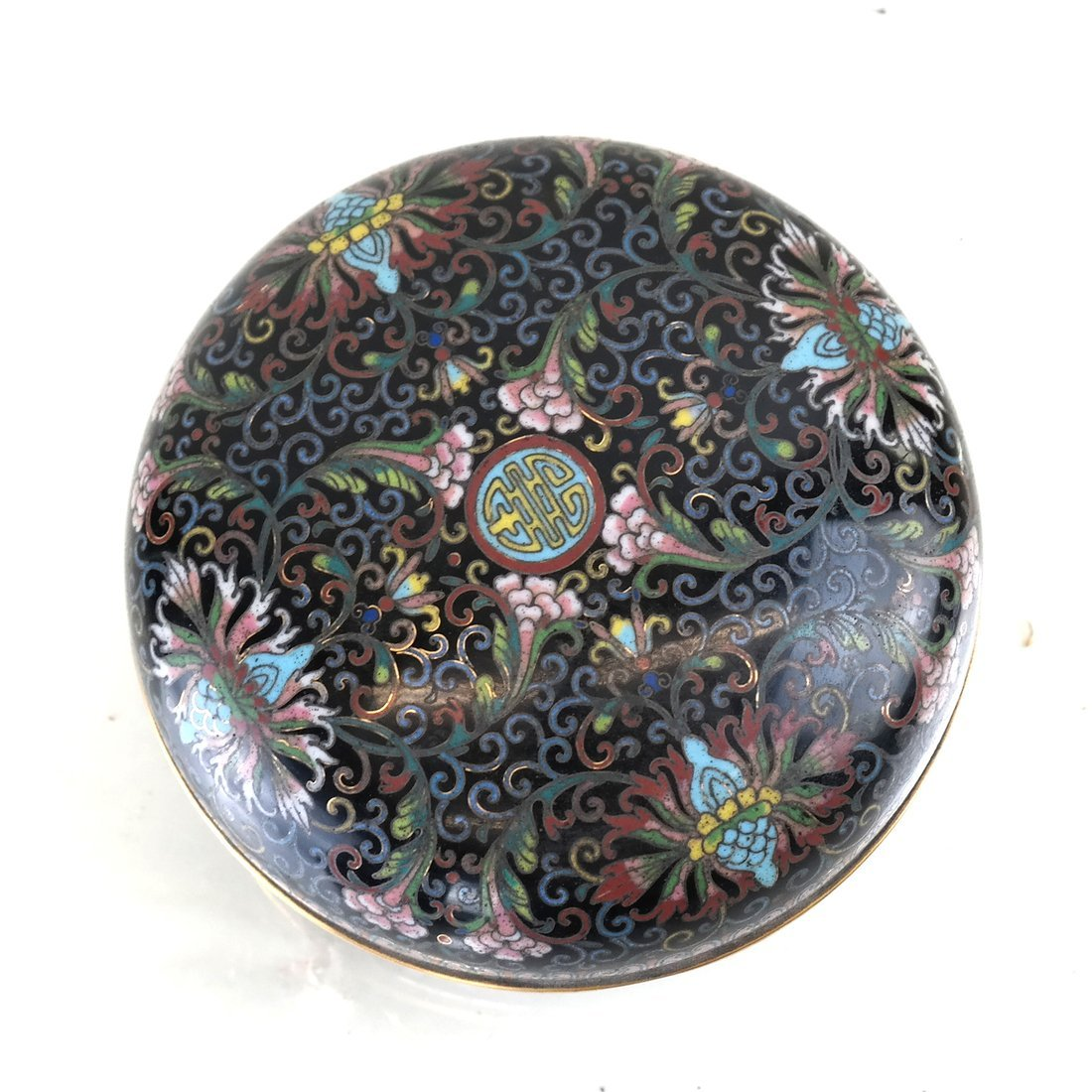 Chinese Cloisonne Circular Covered Box - 3