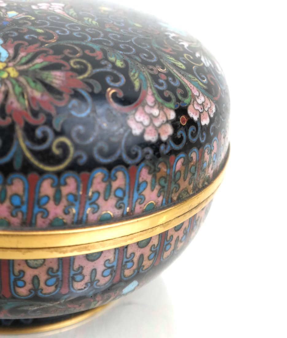 Chinese Cloisonne Circular Covered Box - 4