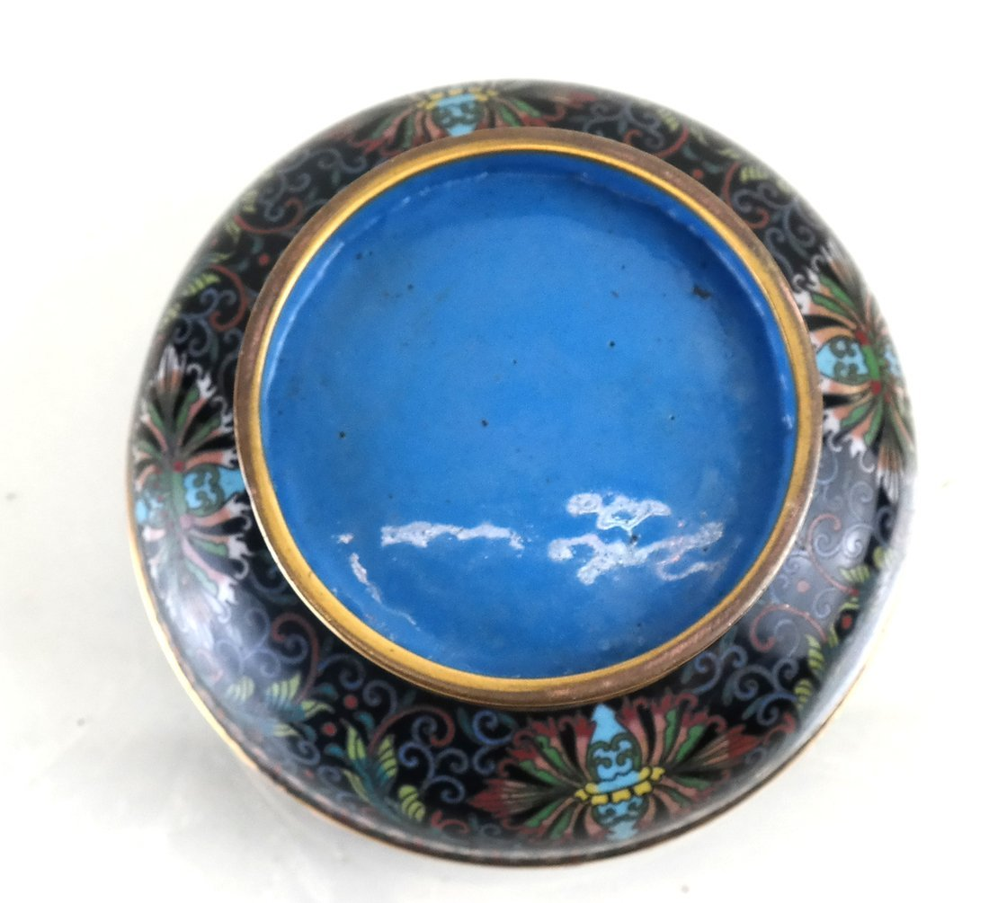 Chinese Cloisonne Circular Covered Box - 7