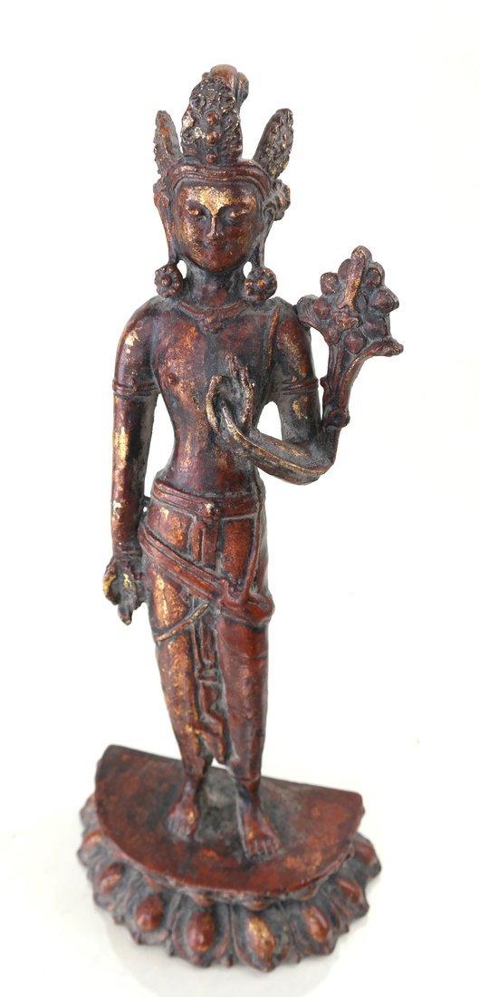 Painted Parcel Gilt Iron Standing Deity