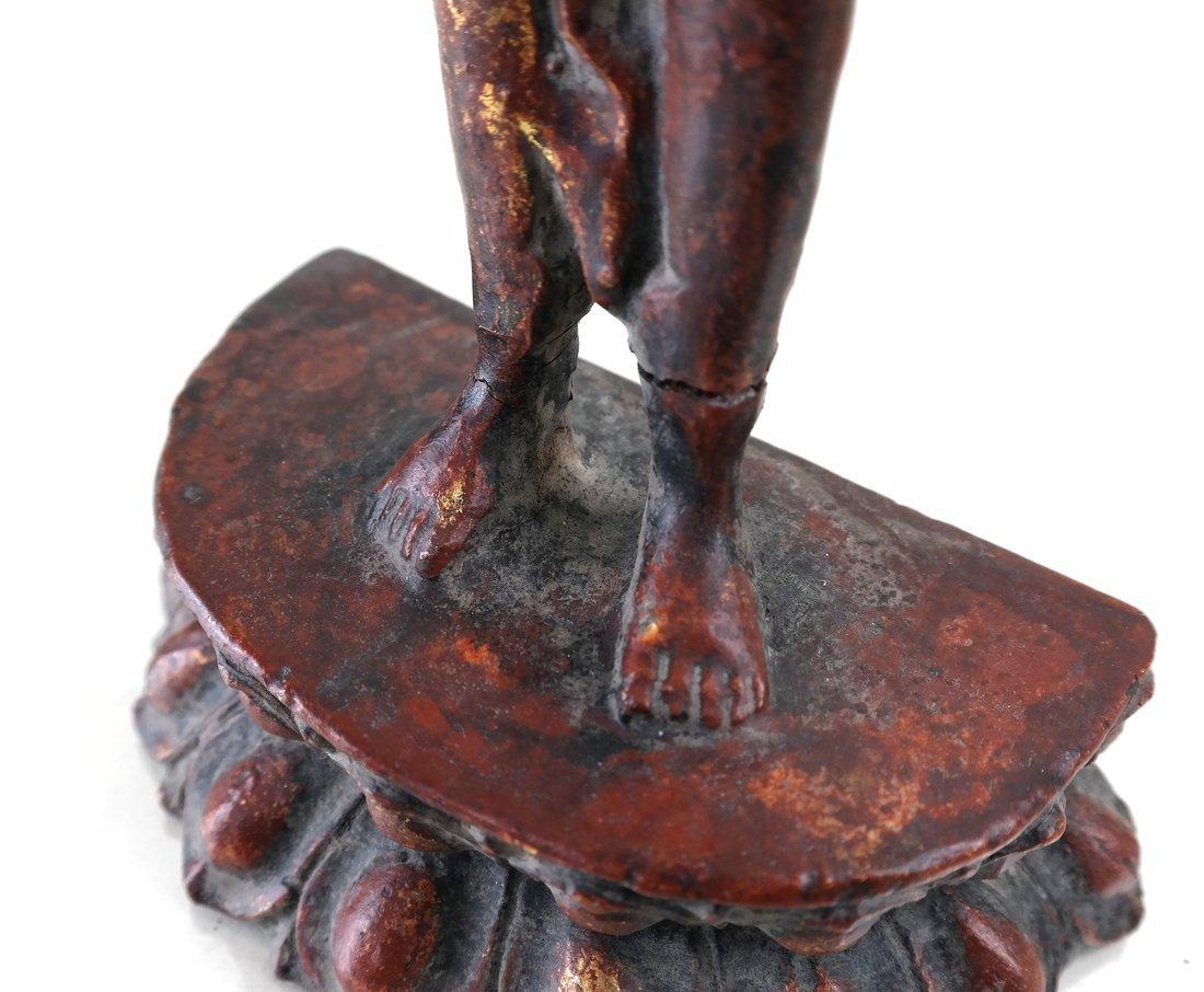 Painted Parcel Gilt Iron Standing Deity - 4