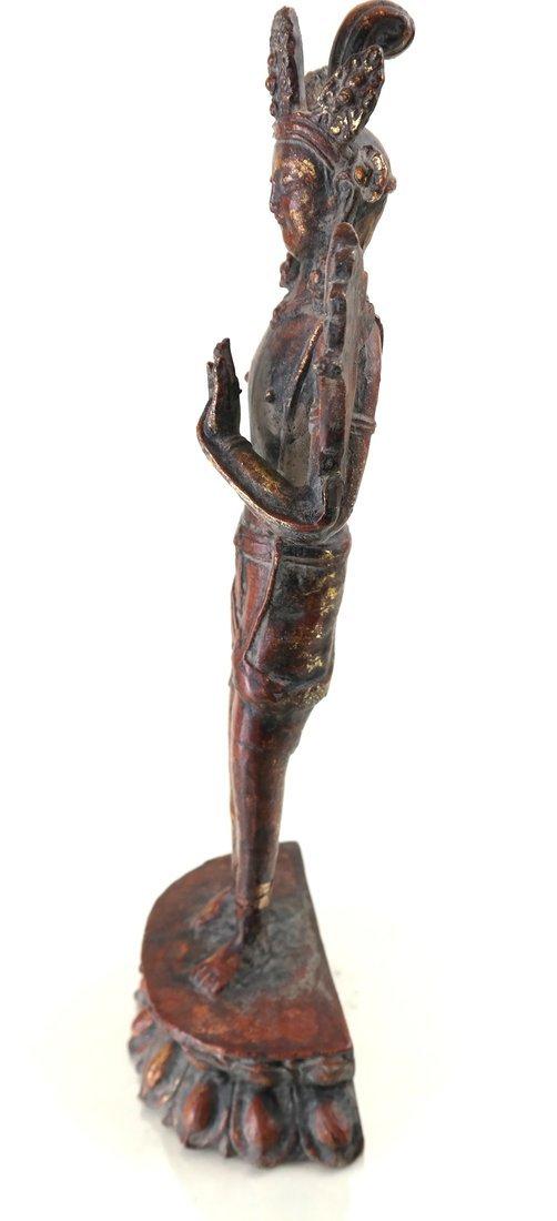 Painted Parcel Gilt Iron Standing Deity - 6