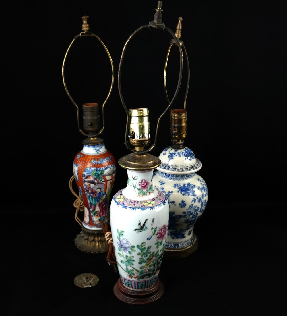 Two Chinese Porcelain Lamps and Another