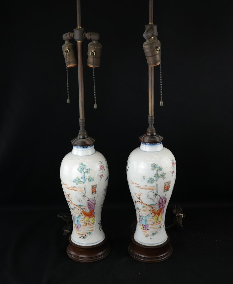 Pair Chinese Export Porcelain Lamps