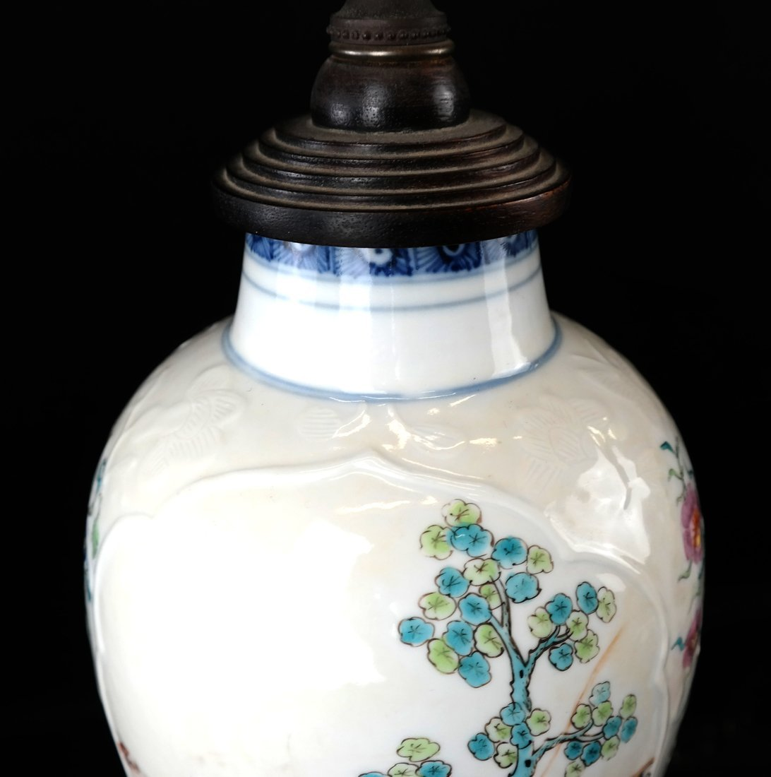 Pair Chinese Export Porcelain Lamps - 6