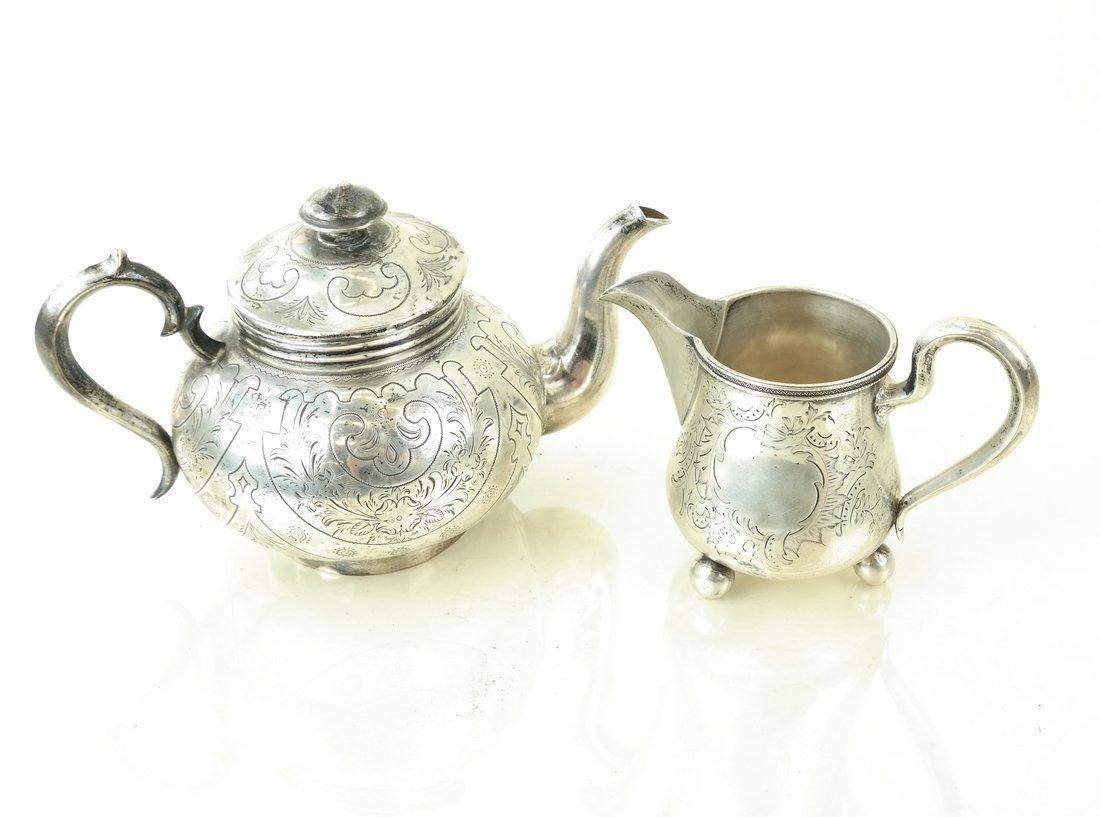 Russian Silver Teapot & Similar Creamer