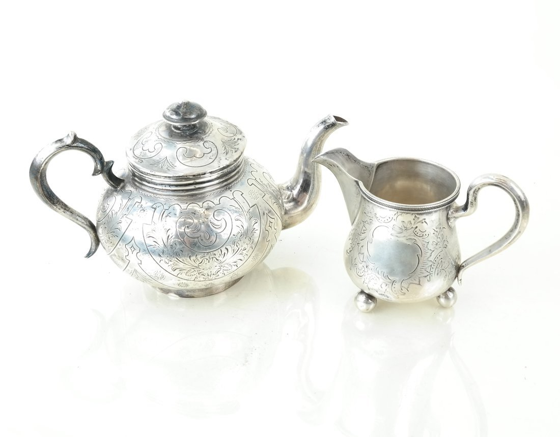Russian Silver Teapot & Similar Creamer - 2
