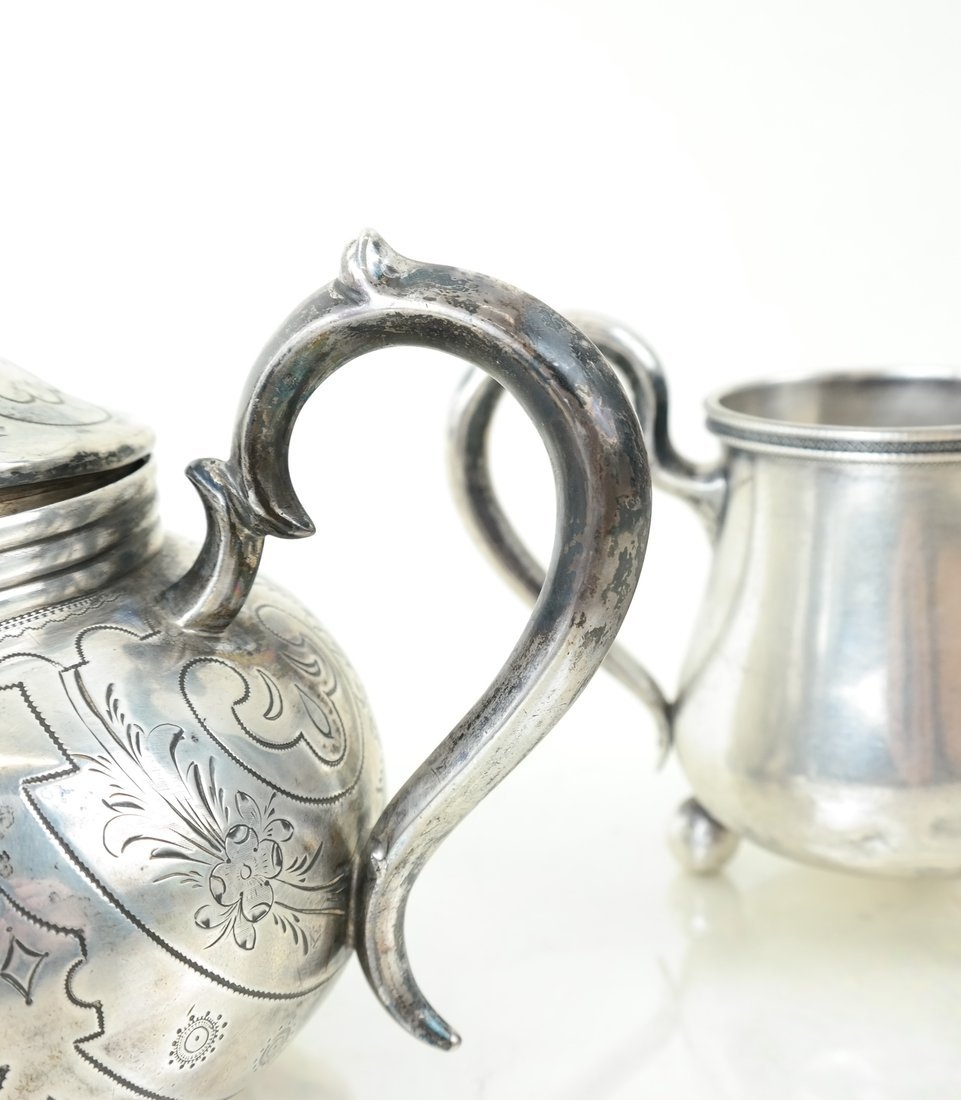 Russian Silver Teapot & Similar Creamer - 8
