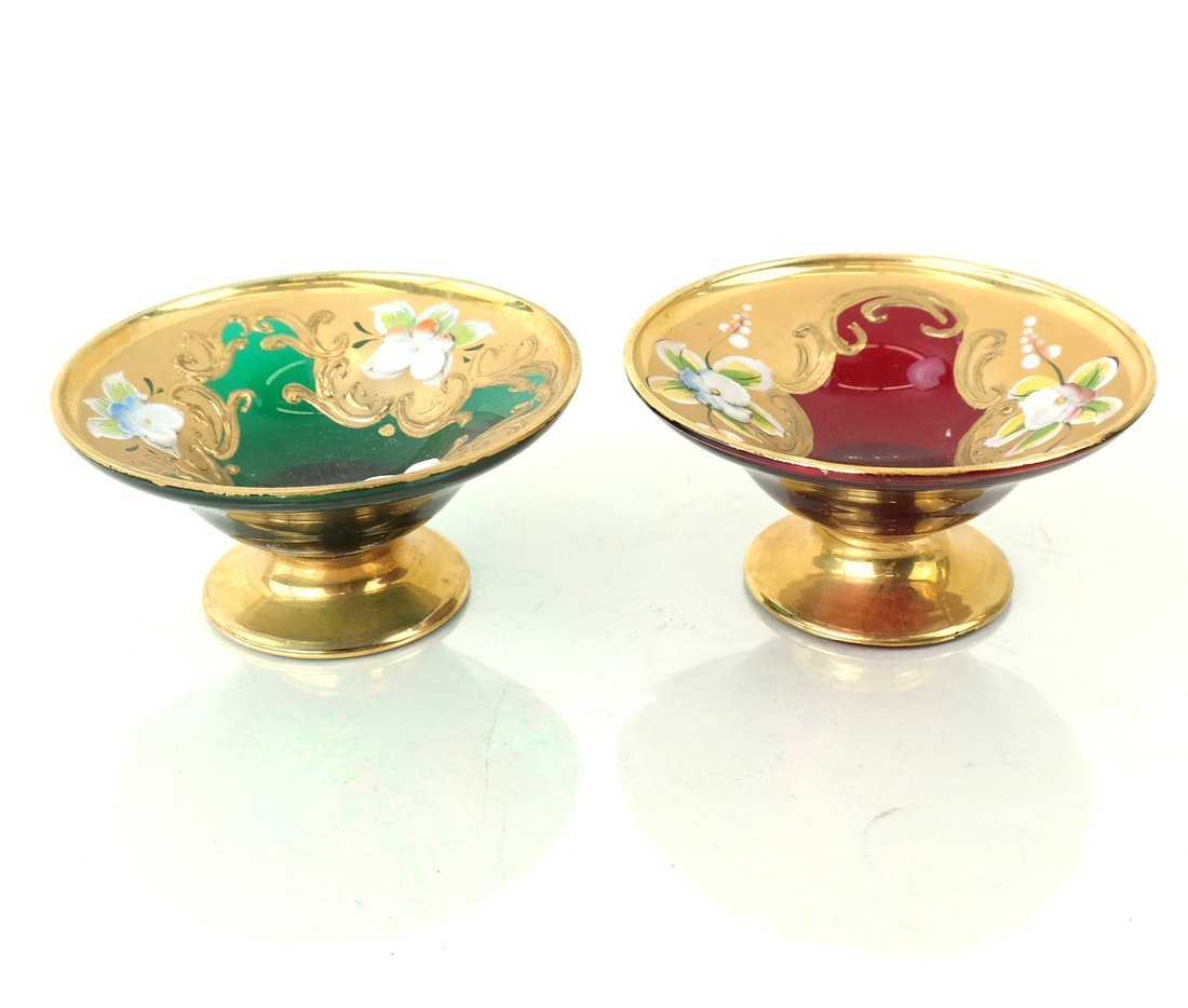 Two Gilt Decorated Colored Glass Salts