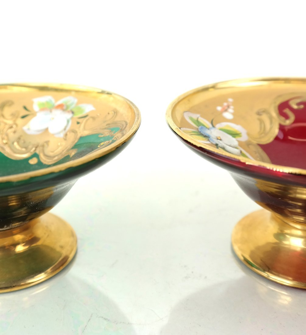 Two Gilt Decorated Colored Glass Salts - 2
