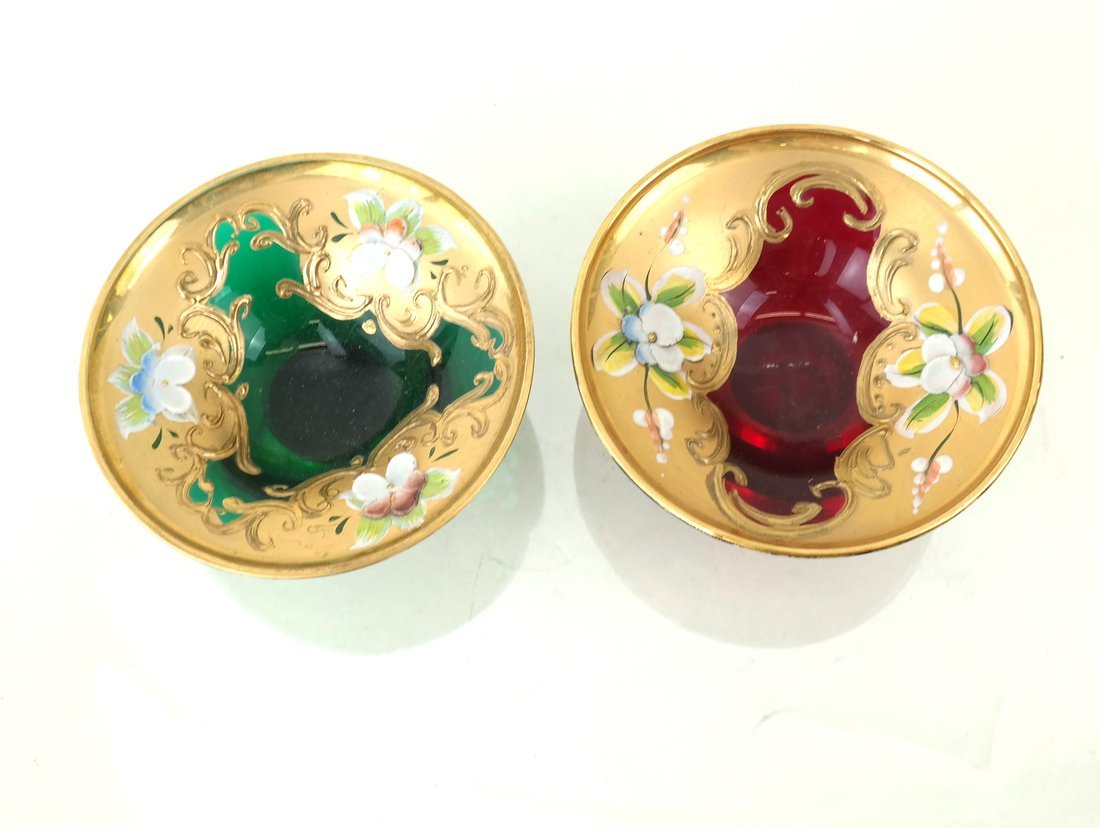 Two Gilt Decorated Colored Glass Salts - 3