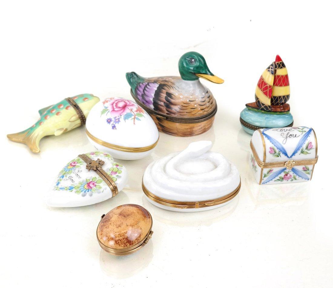 8 Continental Porcelain Figural Boxes