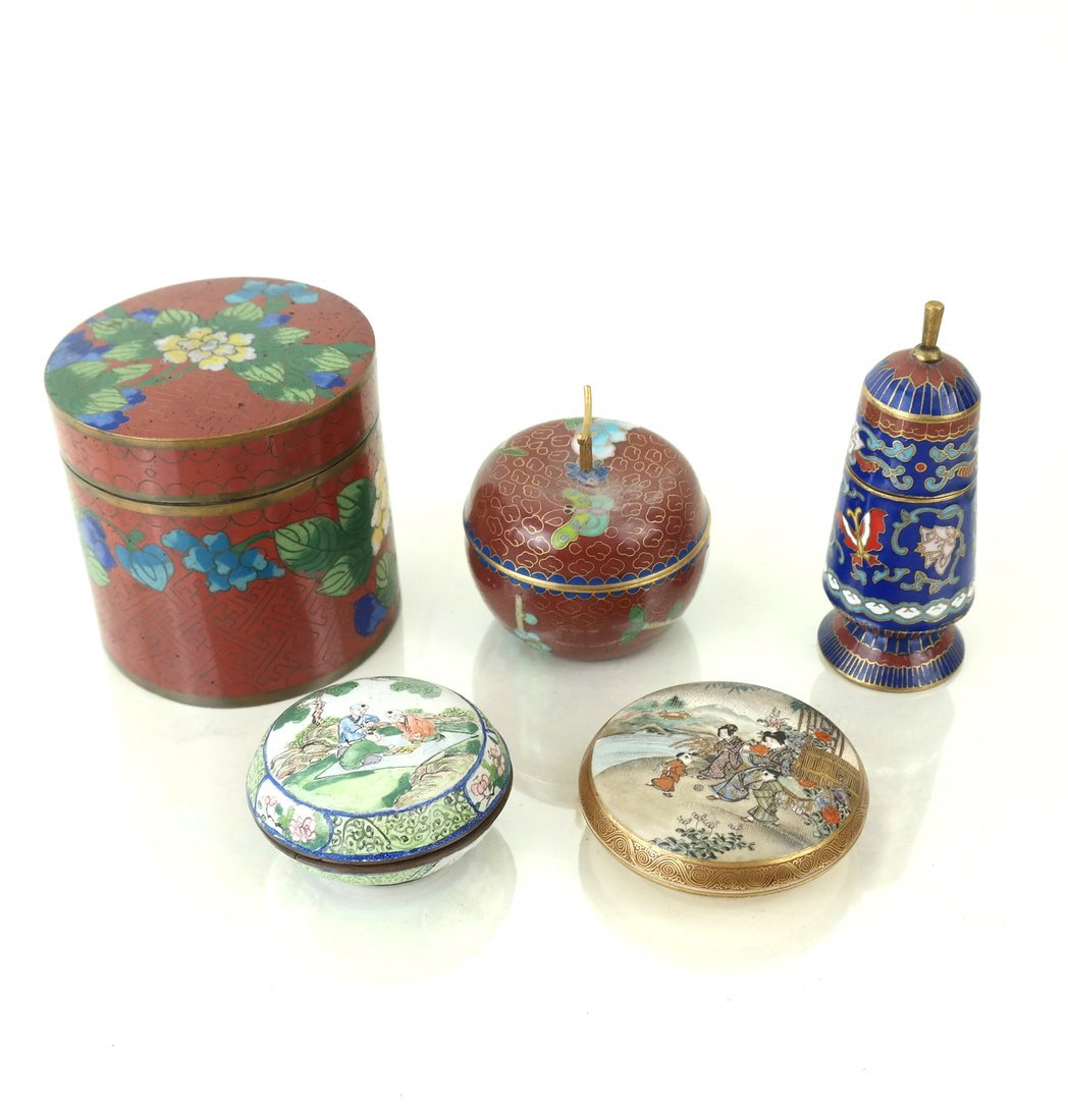 Five Asian Enamel or Ceramic Small Boxes