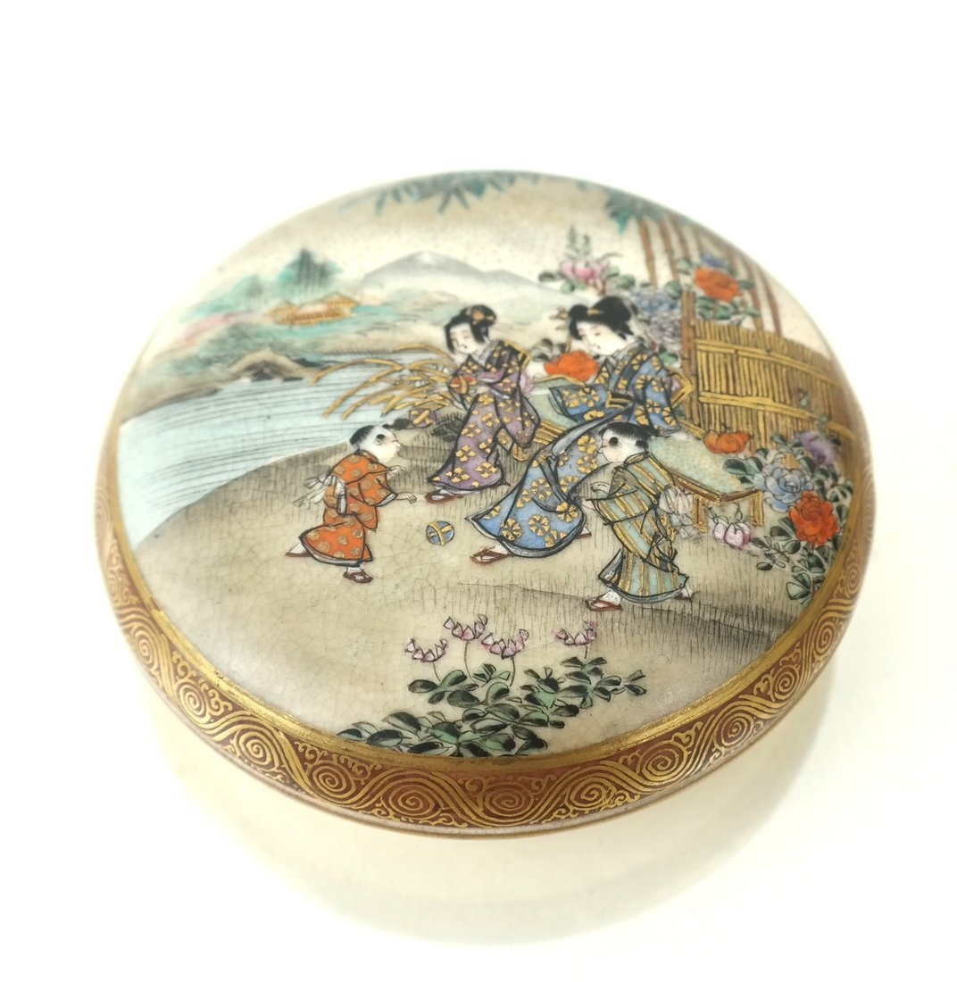 Five Asian Enamel or Ceramic Small Boxes - 5