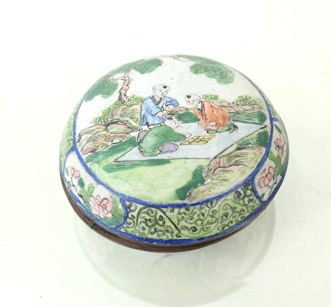Five Asian Enamel or Ceramic Small Boxes - 6