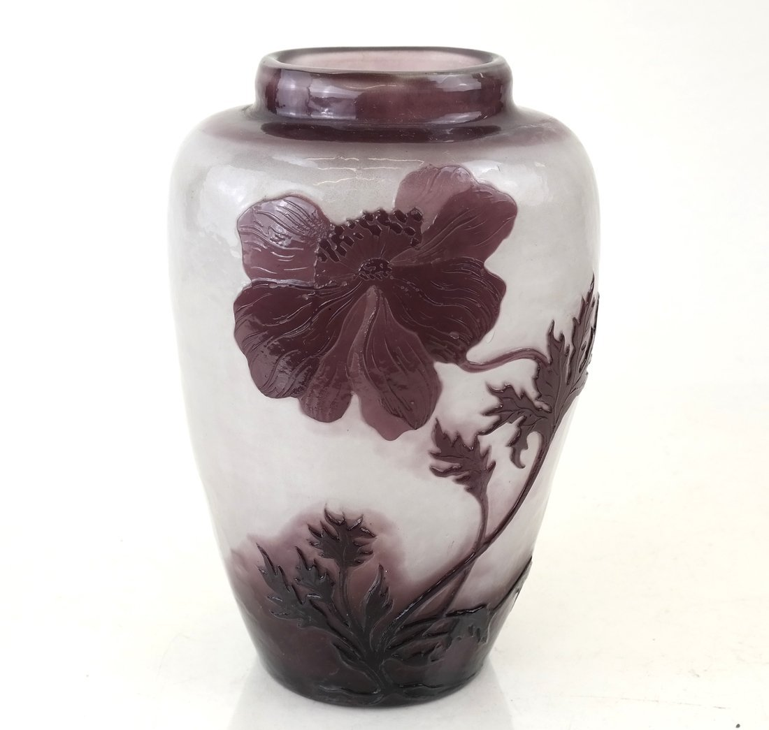 French Fire-Polished Cameo Glass Vase
