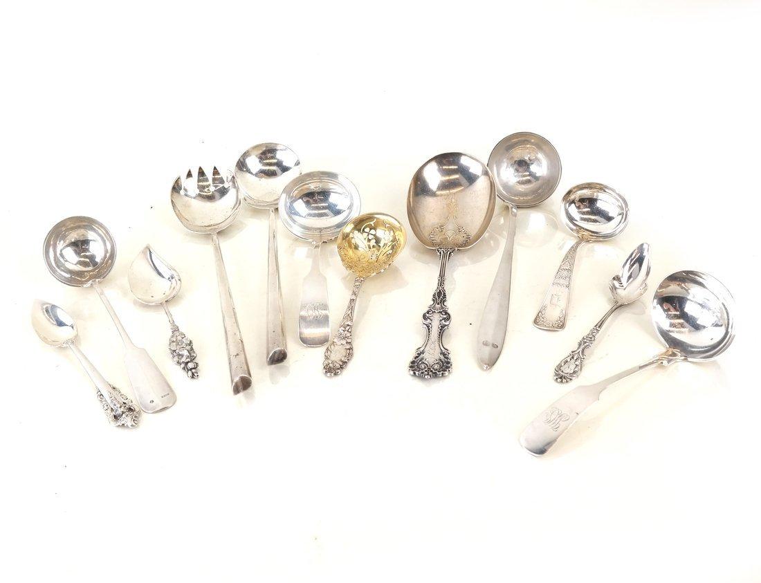 Twelve Various Silver Serving Utensils