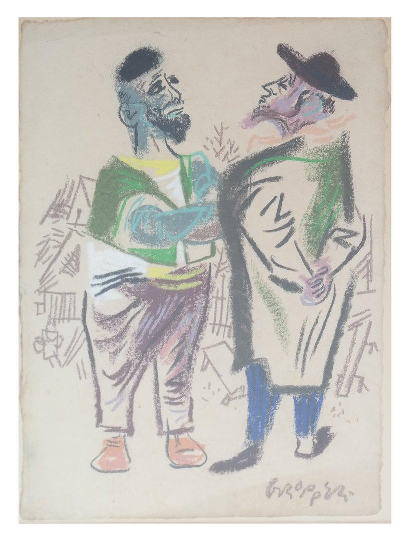 W. Gropper, Two Men - Crayon