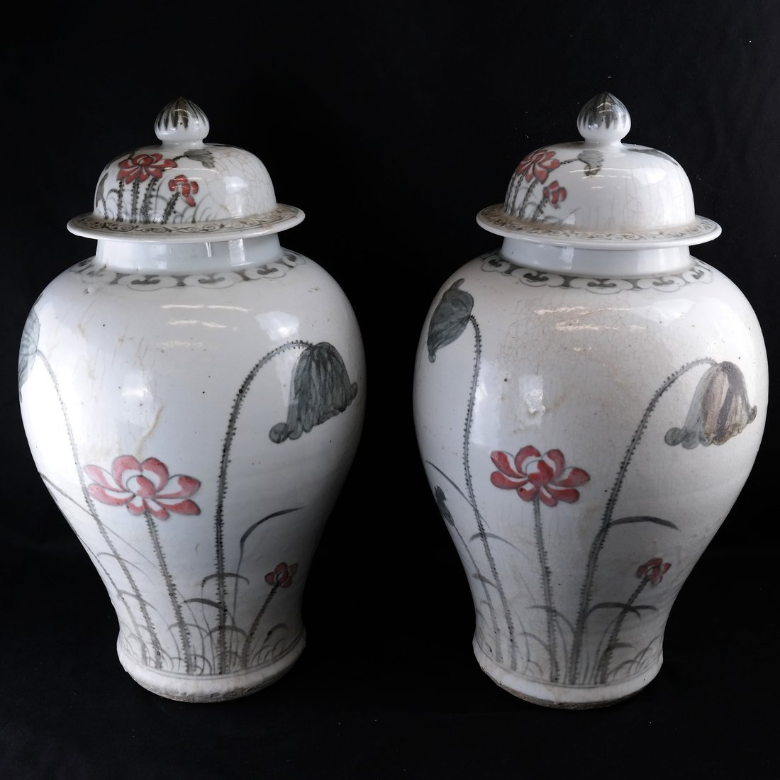 2 Chinese Porcelain Covered Temple Jars