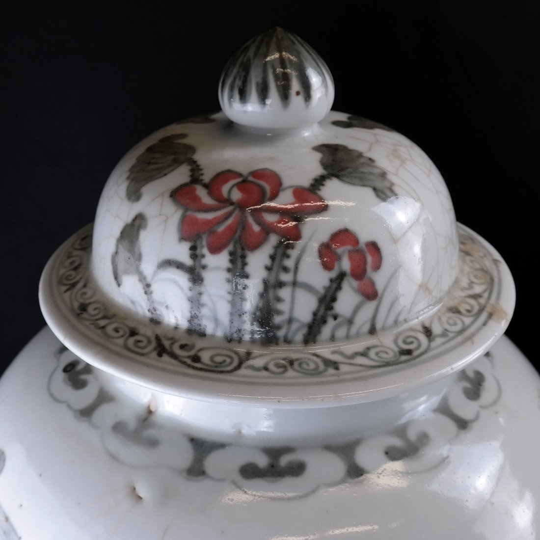 2 Chinese Porcelain Covered Temple Jars - 2