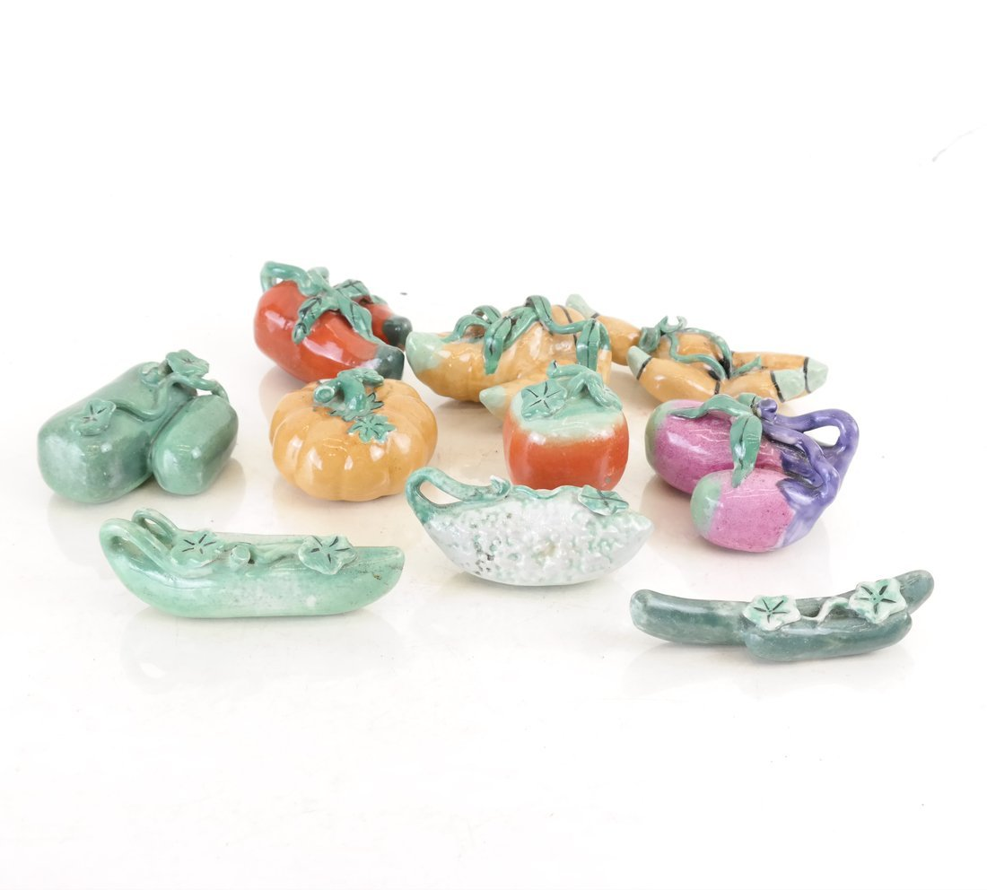 Ten Chinese Small Porcelain Vegetables