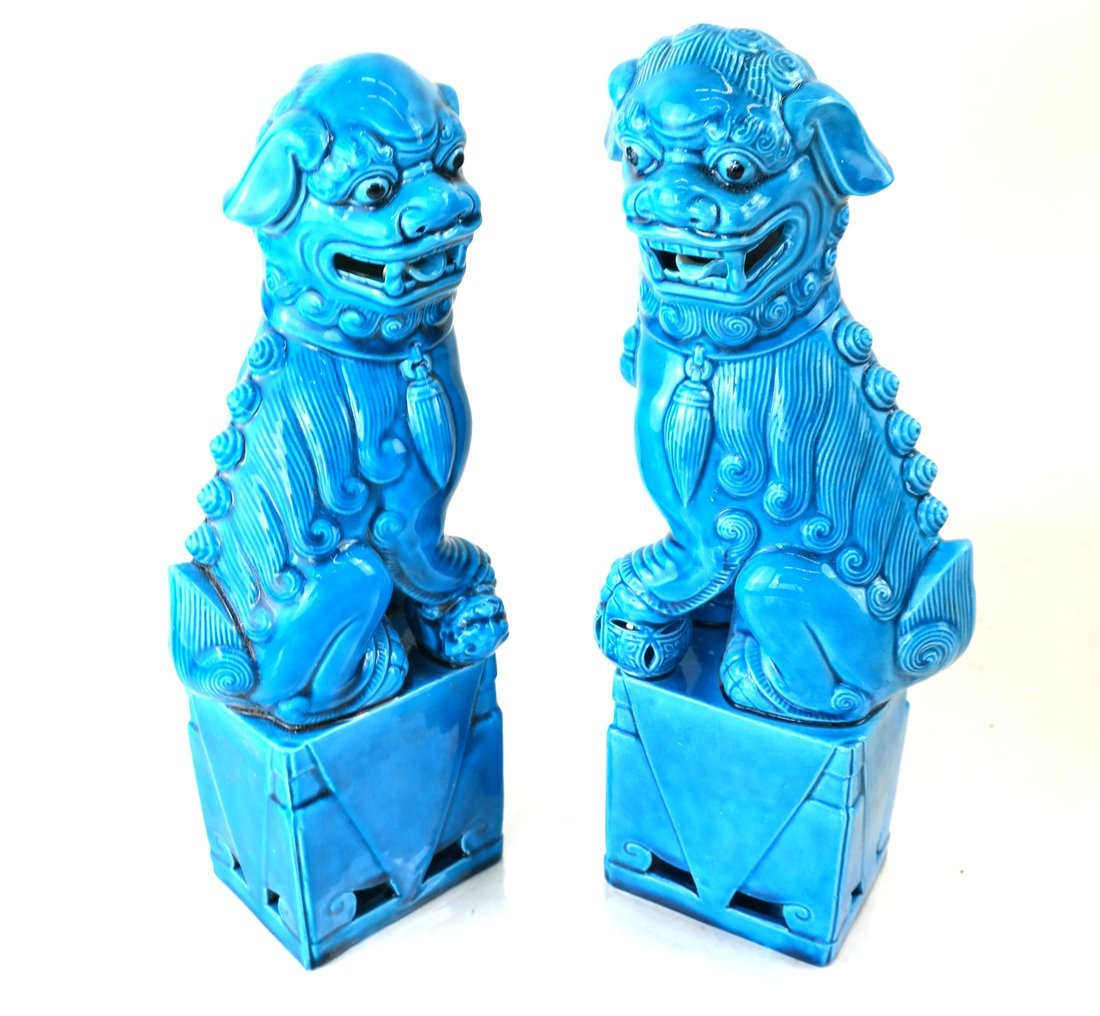 Pair Chinese Turquoise Glazed Foo Lions