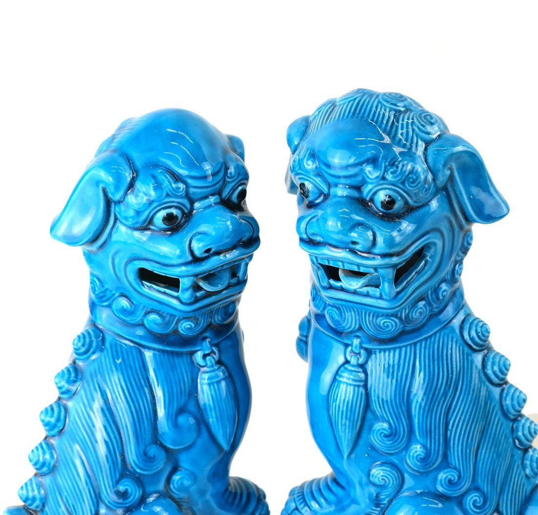 Pair Chinese Turquoise Glazed Foo Lions - 2
